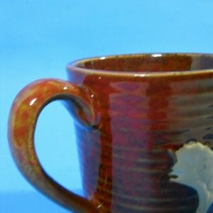 Maple Leaf Stoneware Pottery Brown Cup Mug Bowl
